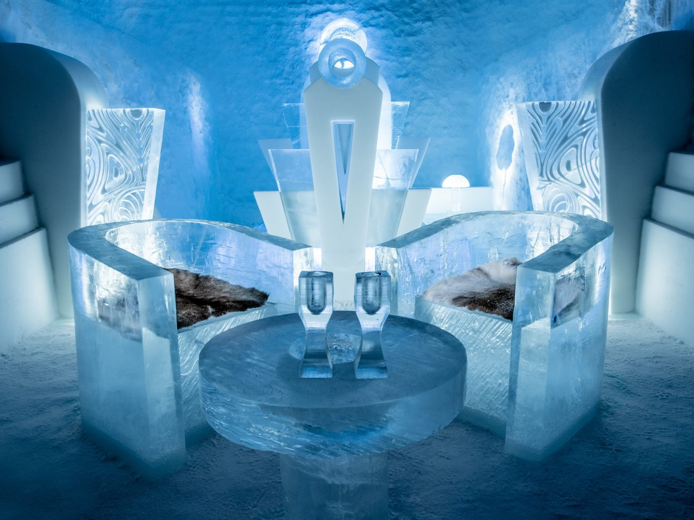 Boutique Hotels Sweden Winter blue water ice hotel ice arctic computer wallpaper world symmetry