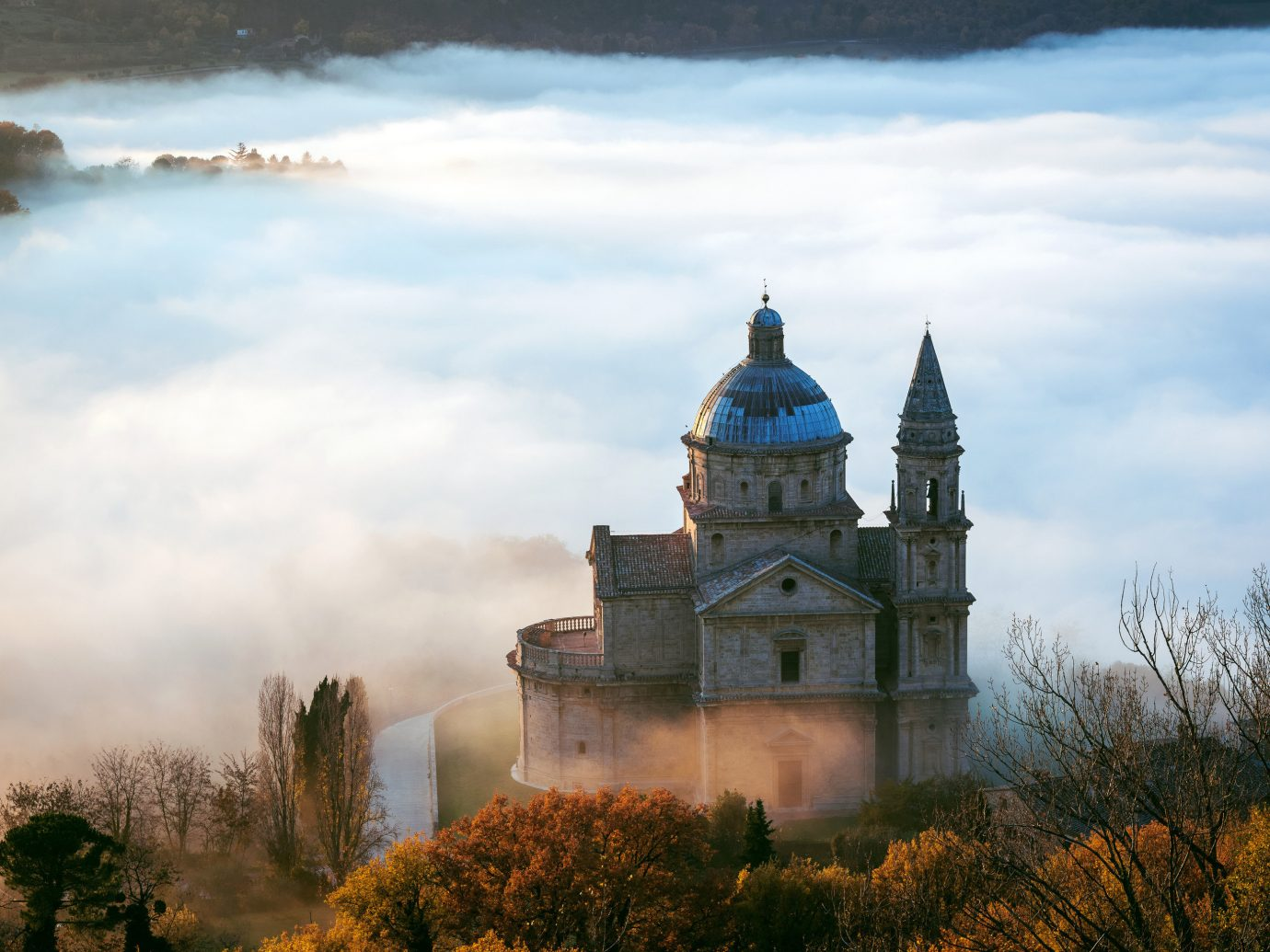 Trip Ideas outdoor tree sky building tower atmospheric phenomenon cloud reflection morning château hill evening rural area landscape castle autumn clouds surrounded day