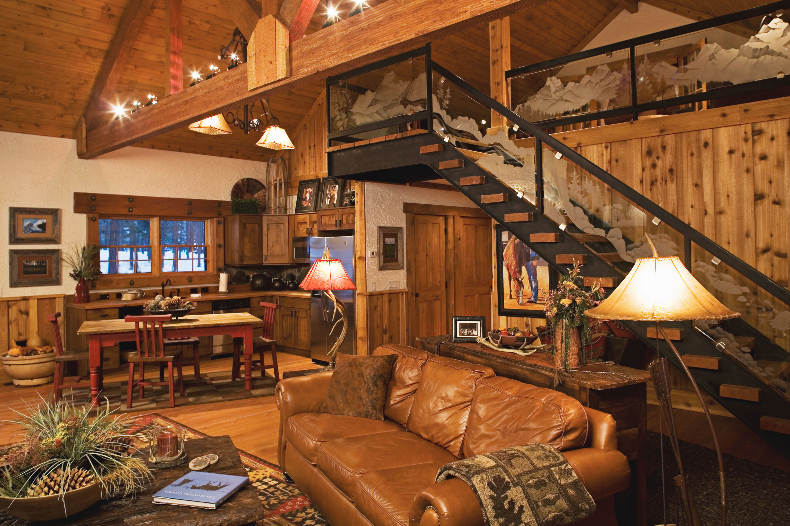Country Glamping Living Lodge Ranch Rustic Secret Getaways Trip Ideas Winter indoor room floor property ceiling building log cabin estate living room home recreation room cottage interior design wood farmhouse furniture basement area