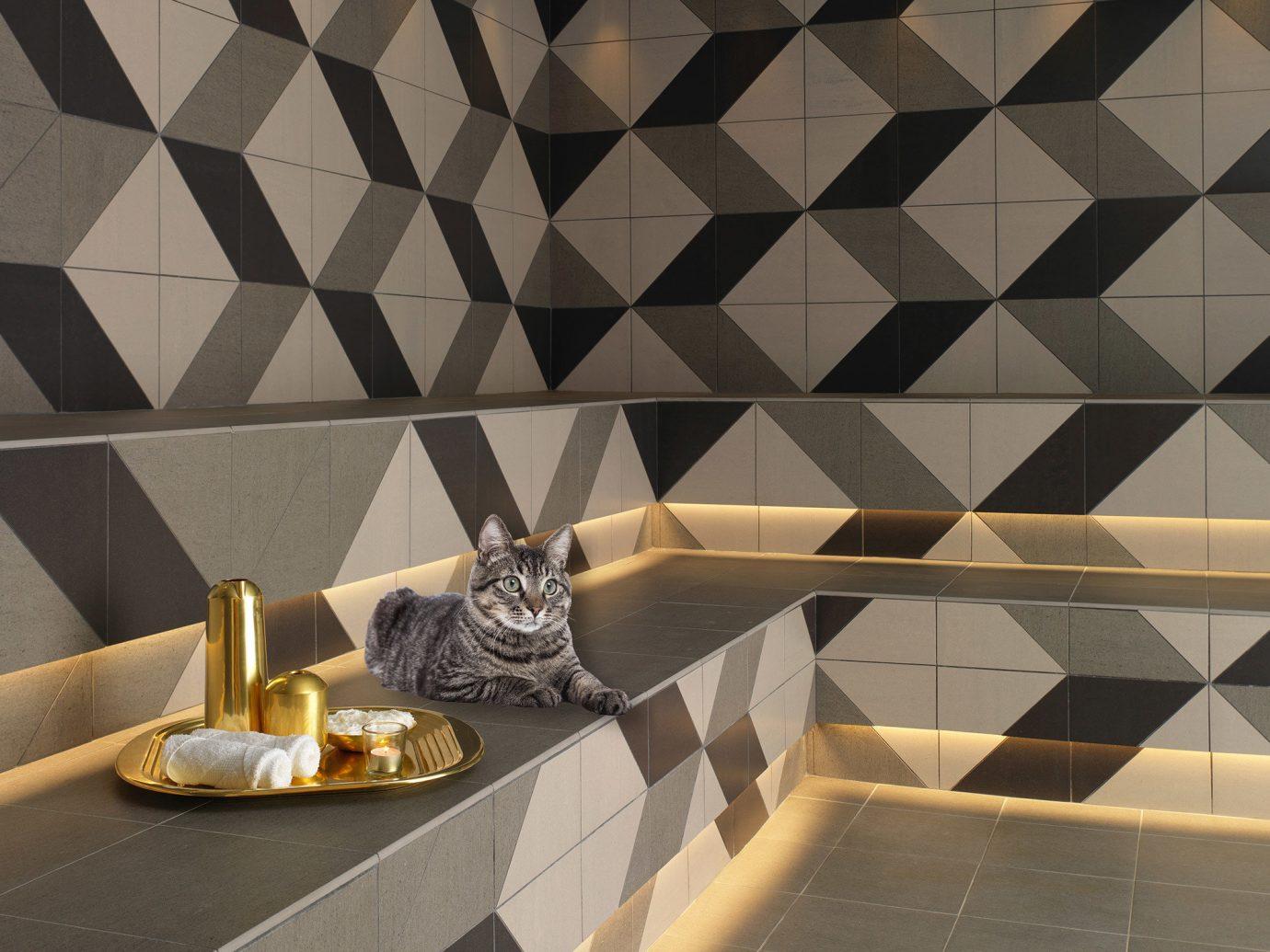 Hotels room tile floor wall flooring Design ceiling daylighting bathroom interior design tiled shape pattern symmetry wallpaper