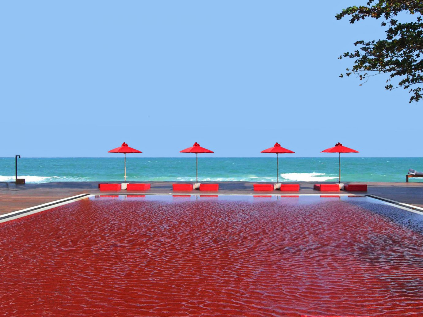 Infinity Pool At The Library In Thailand - Red Water