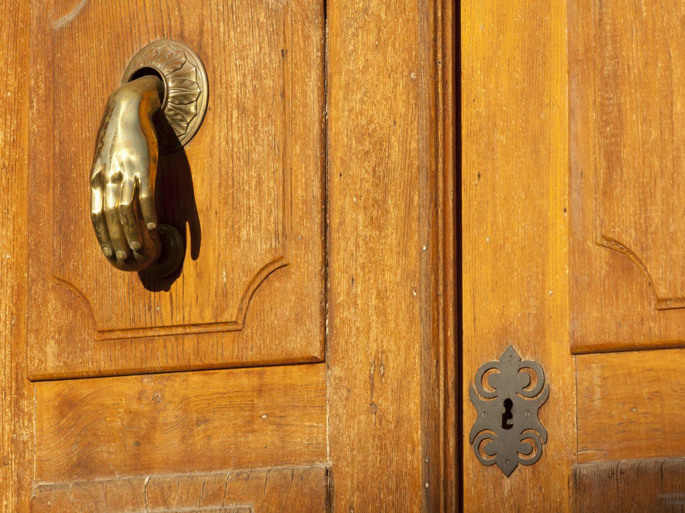 Offbeat wooden man made object wood door wall hardwood floor carving wood stain lock metalware wood flooring antique catch