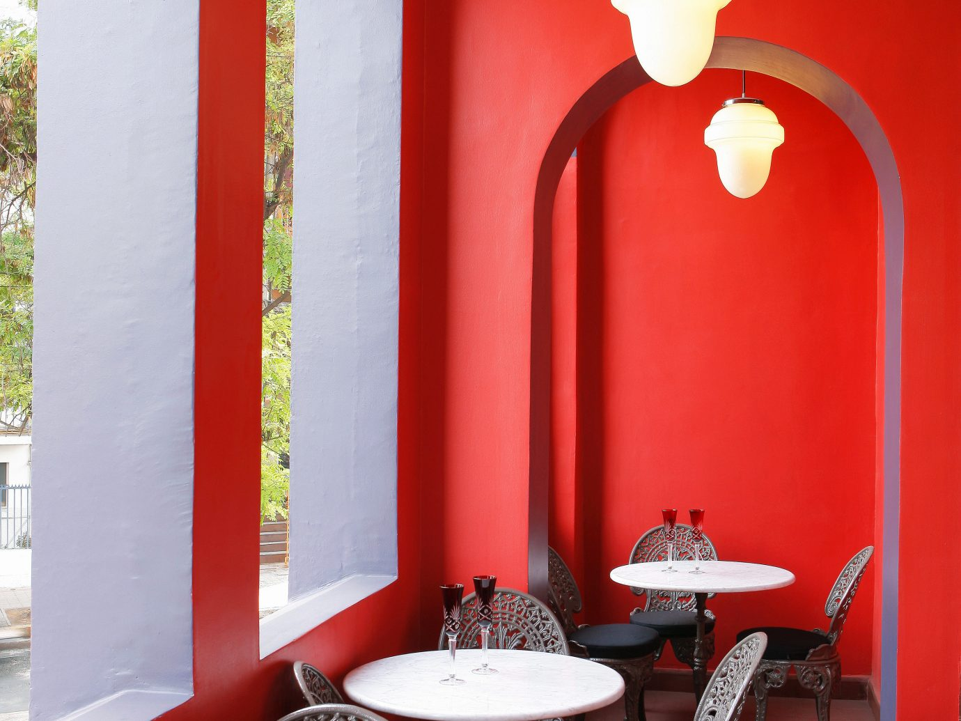 Boutique Design Dining Drink Eat Hotels Lounge Modern Romance red wall color room indoor living room dining room interior design lighting home