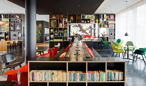 Hotels indoor shelf book room ceiling interior design Design library area cluttered Shop