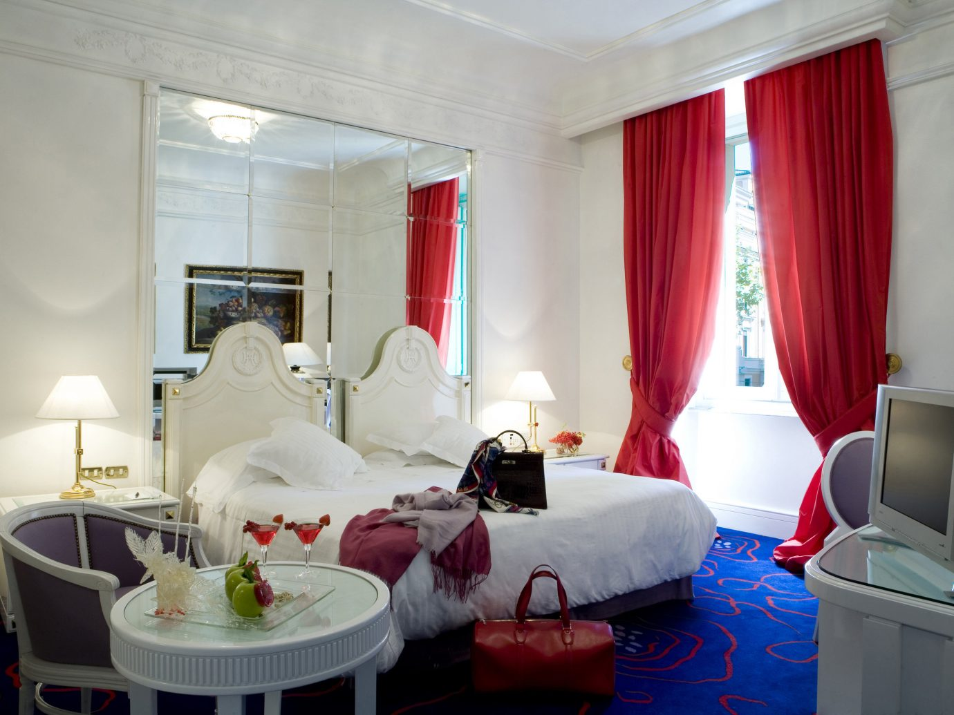 Boutique Hotels Italy Luxury Travel Romantic Hotels Rome indoor wall room floor Living property curtain Suite interior design red furniture Bedroom living room estate apartment cottage decorated flat cluttered several