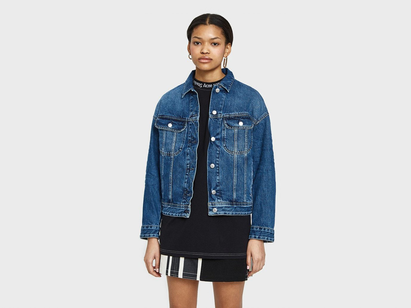 Style + Design Travel Shop person standing denim jacket wearing jeans fashion outerwear fashion model sleeve material posing electric blue dressed