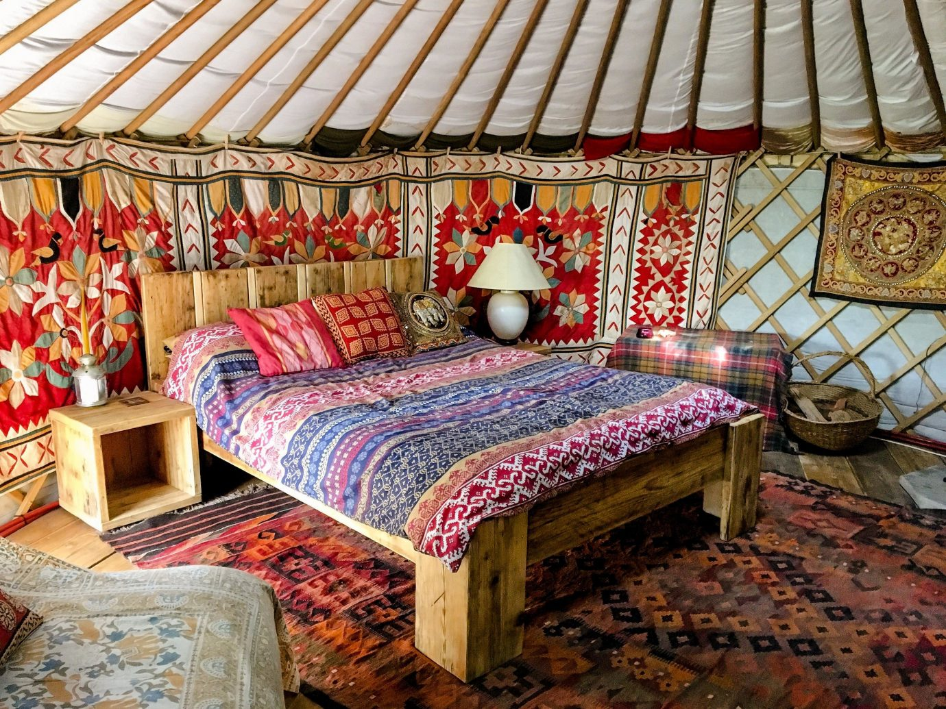 Glamping Outdoors + Adventure Trip Ideas indoor room textile bed interior design bed sheet furniture bed frame Bedroom bedding linens colorful