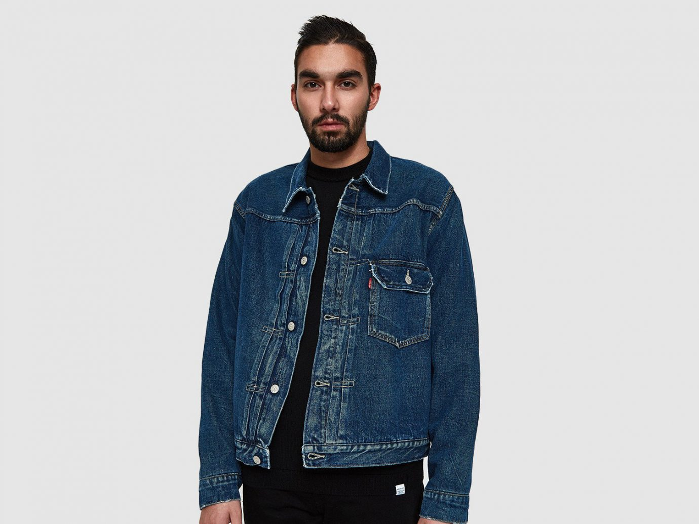 b9e8cdc1f33c6b Style + Design Travel Shop person denim standing jacket man jeans textile  outerwear sleeve material gentleman