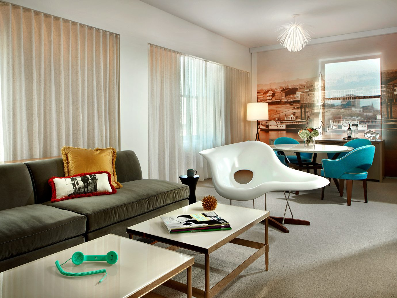 Boutique Boutique Hotels Fall Travel Food + Drink Living Lounge Modern Trip Ideas Weekend Getaways indoor floor room sofa table wall window property living room furniture ceiling interior design condominium Suite estate home real estate Design window covering apartment area