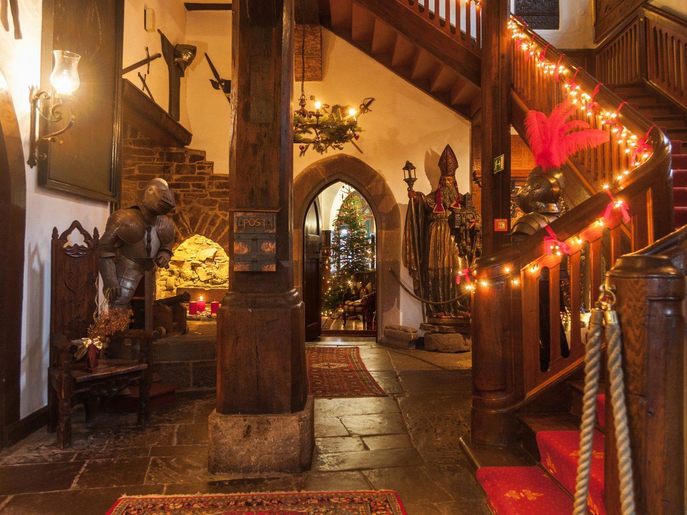 Hotels Landmarks Luxury Travel interior design wood window night Fireplace altar