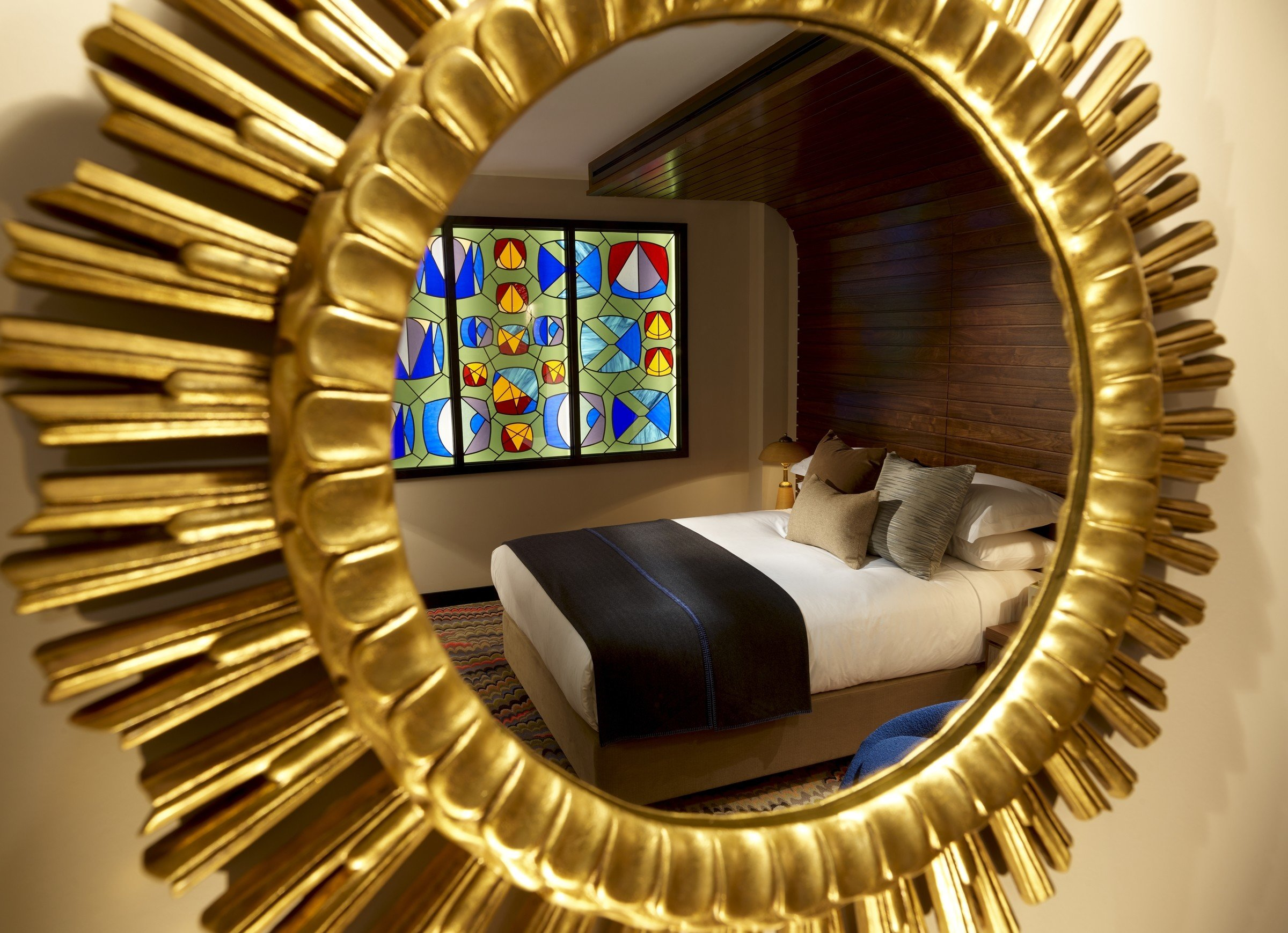 Budget Hotels London color metalware living room interior design modern art circle spiral Design window decorated gear