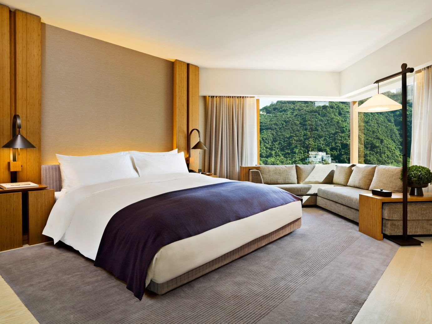 Bedroom Hotels Luxury Modern Mountains Scenic views Suite bed indoor wall room floor hotel property ceiling window estate interior design real estate cottage bed sheet bed frame decorated furniture