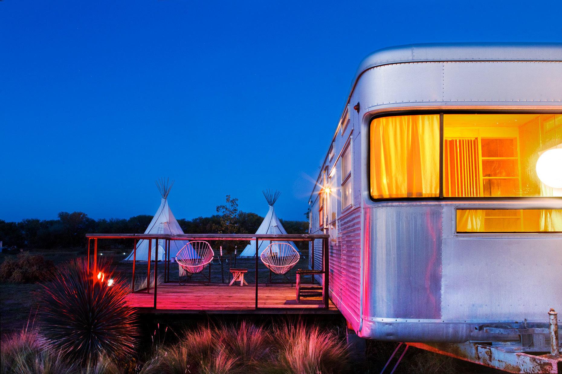 Glamping Luxury Travel Outdoors + Adventure sky outdoor transport vehicle night evening light