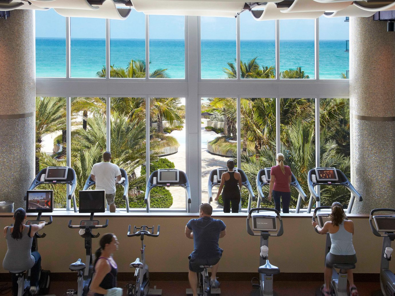 Beachfront Fitness Hotels Scenic views Sport Wellness structure room interior design Resort restaurant window covering several