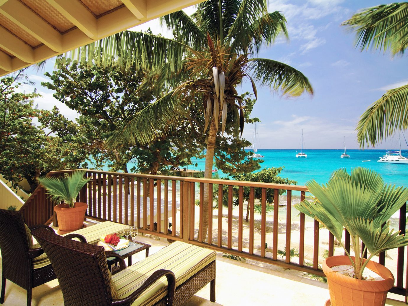 Beachfront Deck Hotels Play Resort tree chair property leisure vacation caribbean estate Villa furniture real estate swimming pool Dining decorated eco hotel plant palm area