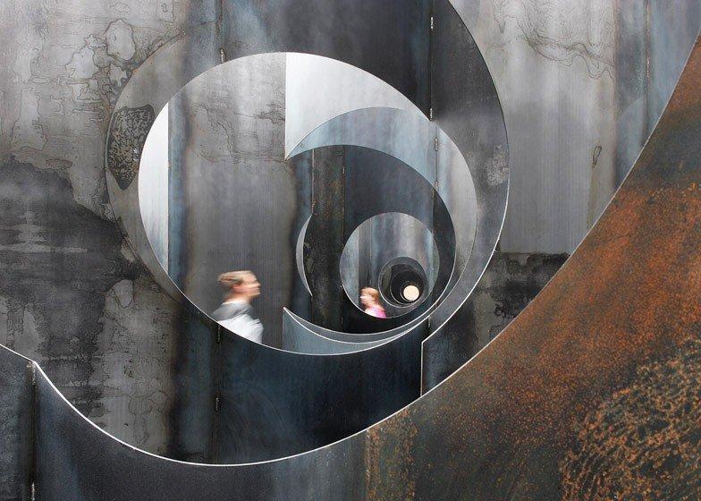 Arts + Culture indoor wall Architecture art reflection metal steel