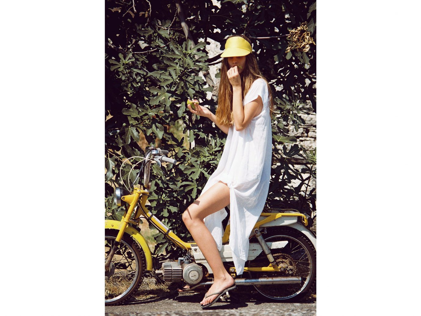 Style + Design Travel Shop person yellow outdoor fashion model shoe headgear vehicle summer posing bicycle
