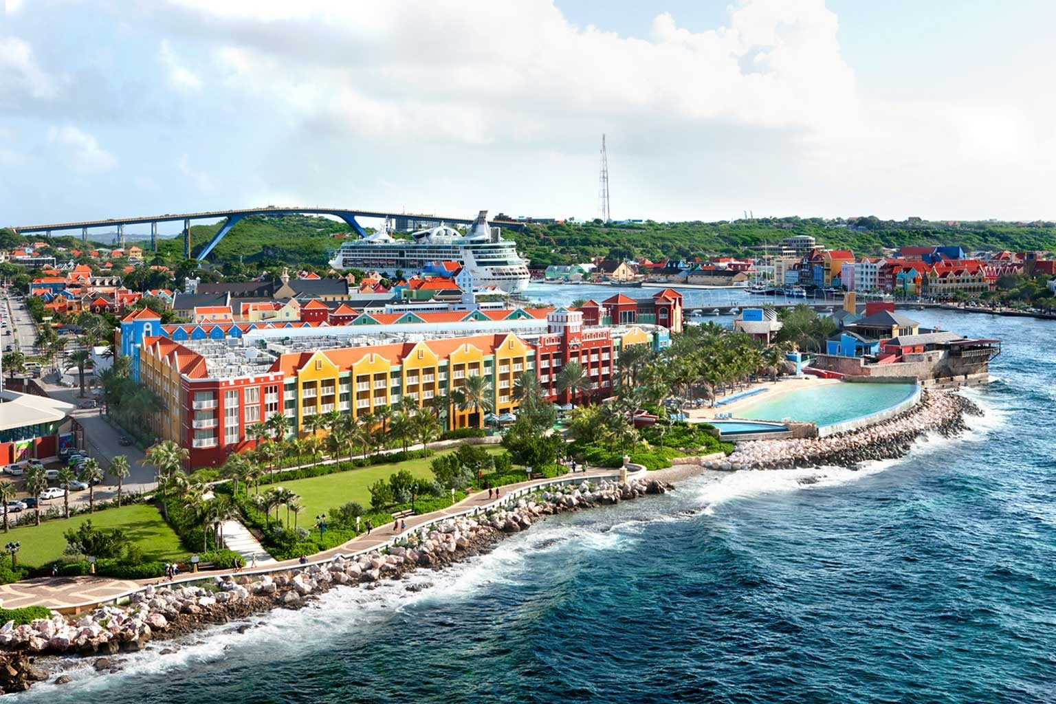 Architecture Buildings Casino Exterior Luxury Resort Scenic views Trip Ideas Waterfront sky outdoor Town Sea vacation Coast tourism amusement park caribbean Water park vehicle bay boating day