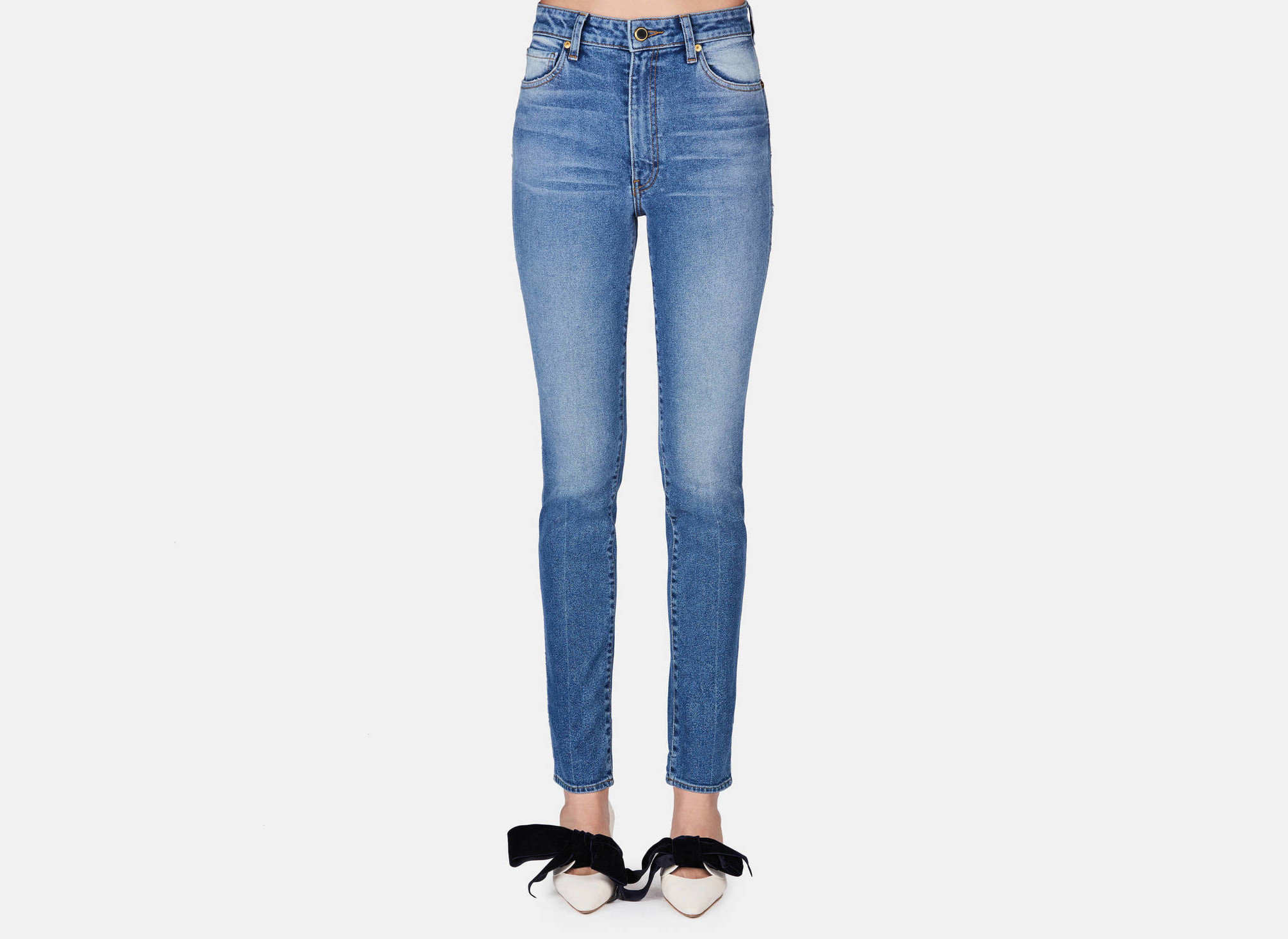 Offbeat jeans person clothing denim trouser trousers pocket abdomen textile pattern trunk