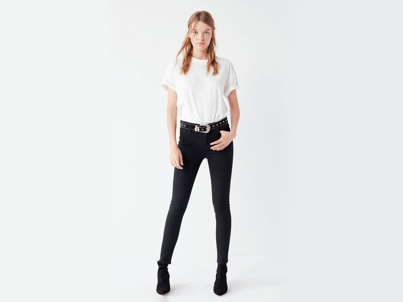 Style + Design Travel Shop clothing white fashion model jeans shoulder standing waist joint sleeve leggings neck abdomen trunk trousers tights supermodel photo shoot denim trouser