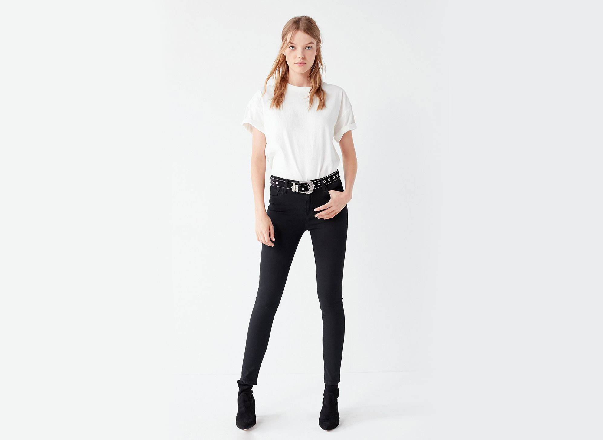 Style + Design Travel Shop clothing white fashion model jeans shoulder standing waist joint sleeve leggings neck abdomen trunk trousers tights supermodel photo shoot denim trouser