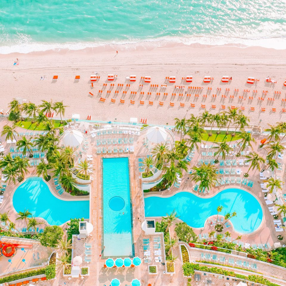 Overhead view of pool at Diplomat Beach Resort