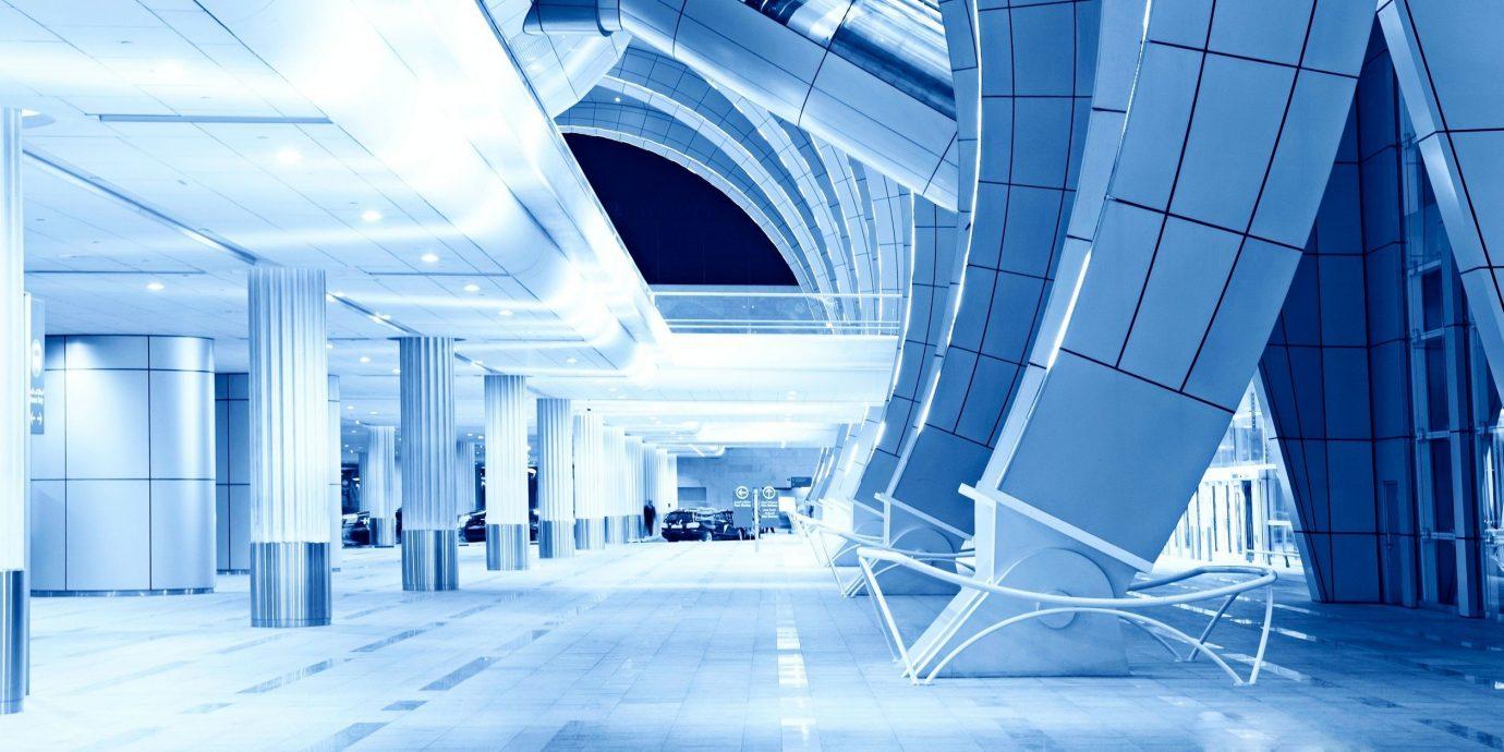 Travel Tips indoor blue Architecture facade headquarters interior design symmetry