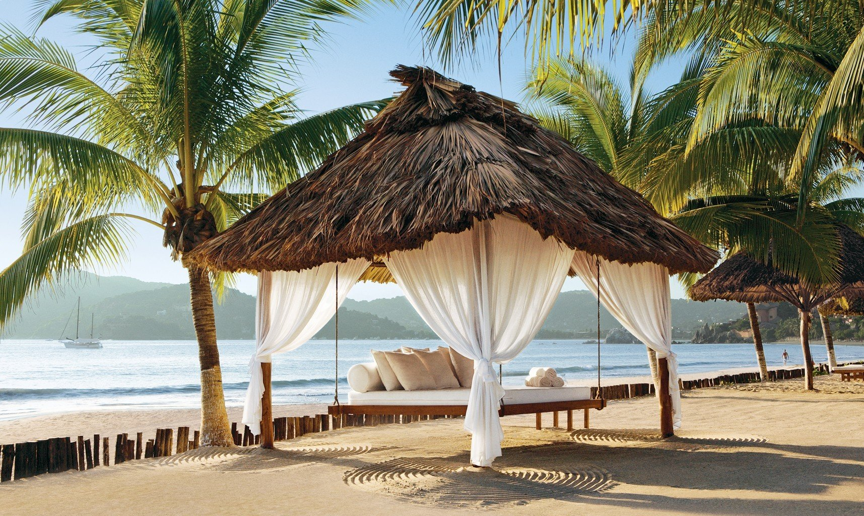 Trip Ideas outdoor tree Beach water umbrella chair palm plant caribbean vacation Resort tropics arecales Sea palm family Pool sandy Ocean lawn hut sand shore lined shade line