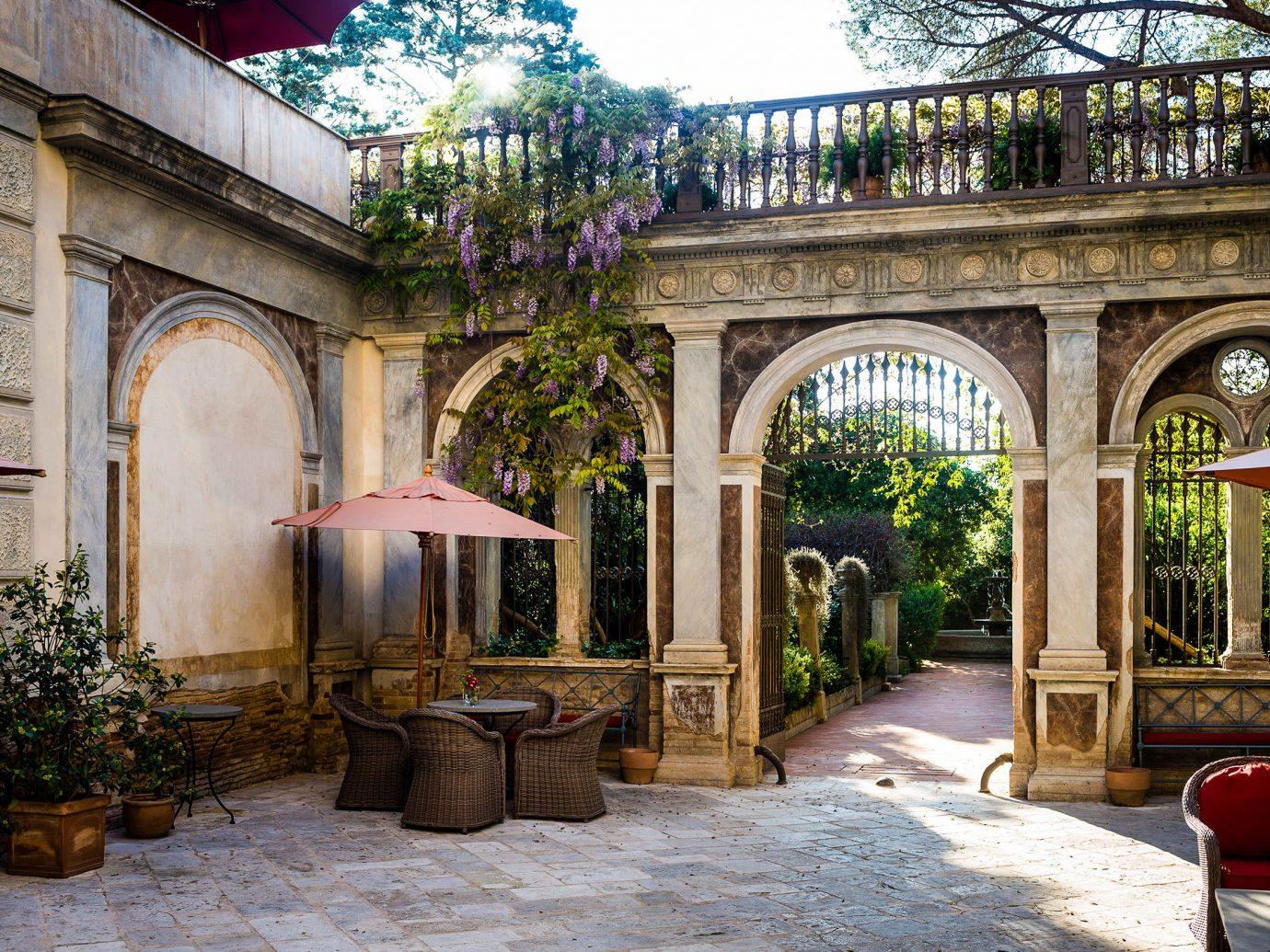 Celebs Hotels Courtyard estate hacienda window real estate outdoor structure Garden arch tree facade Patio orangery