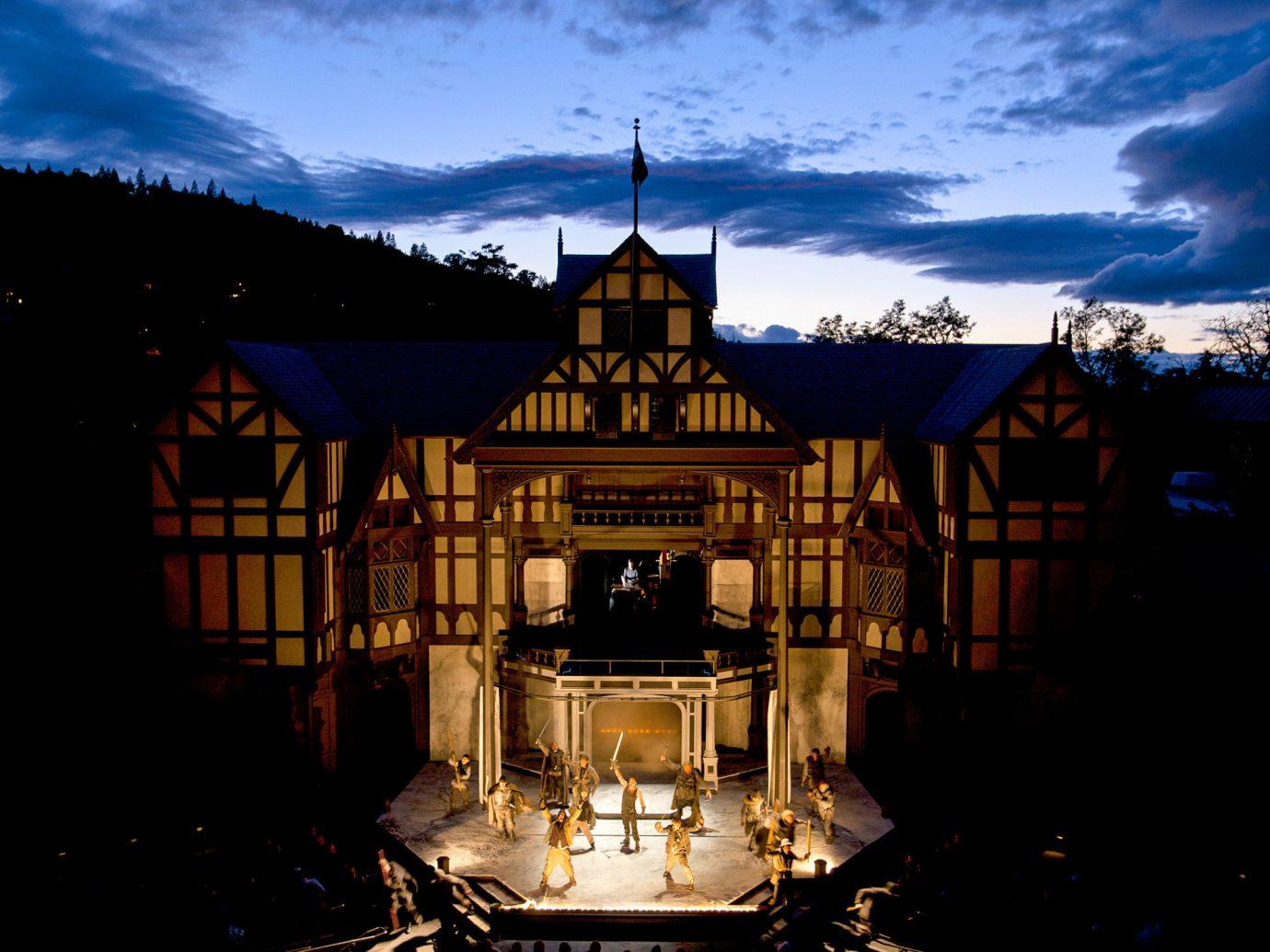 Trip Ideas sky outdoor landmark reflection tourist attraction night evening lighting building château facade darkness tourism City dark