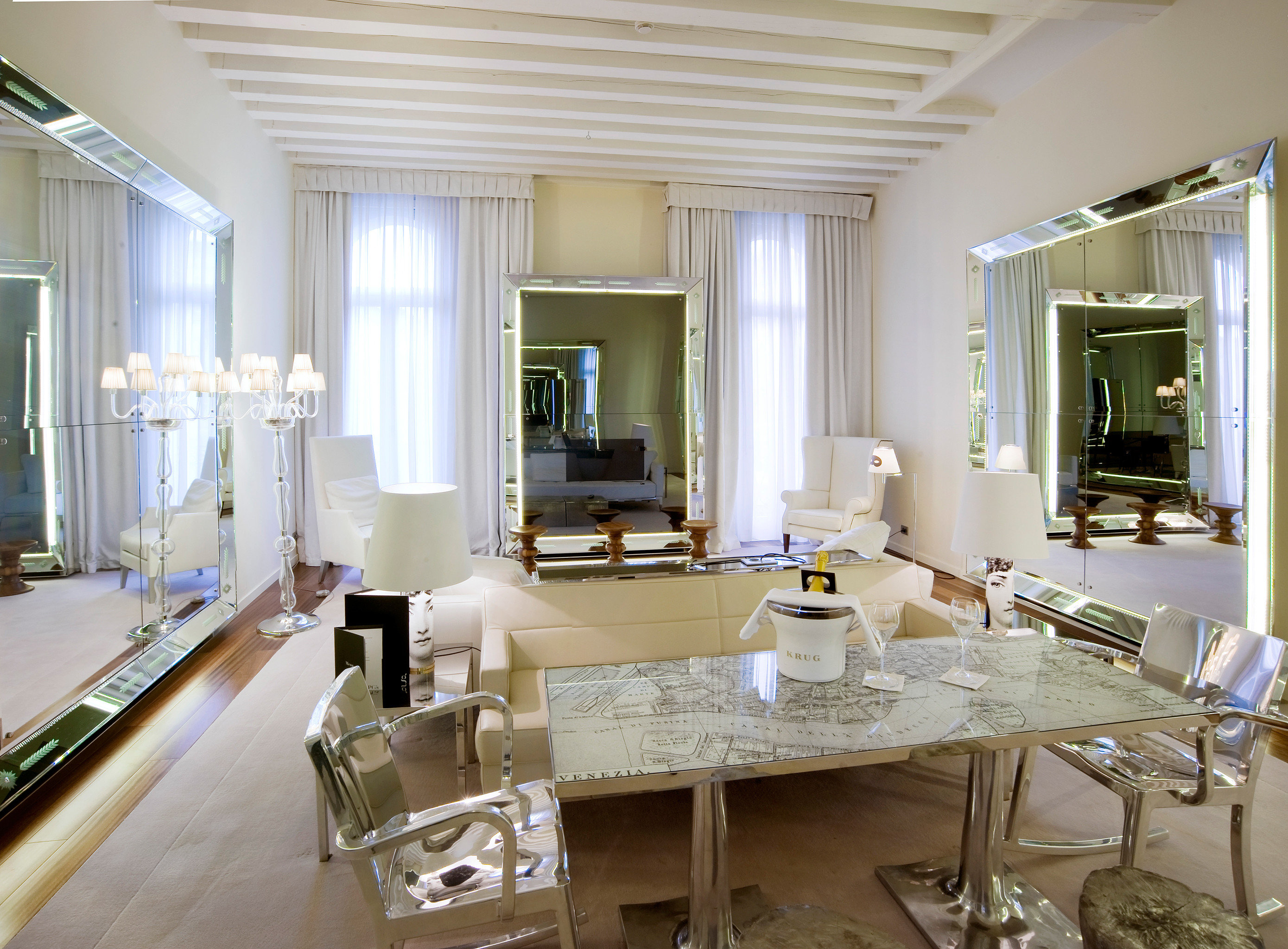 City Hip Hotels Italy Living Luxury Luxury Travel Modern Suite Venice window indoor floor wall dining room room property living room estate home interior design real estate ceiling condominium Kitchen Design mansion cottage Villa furniture several dining table