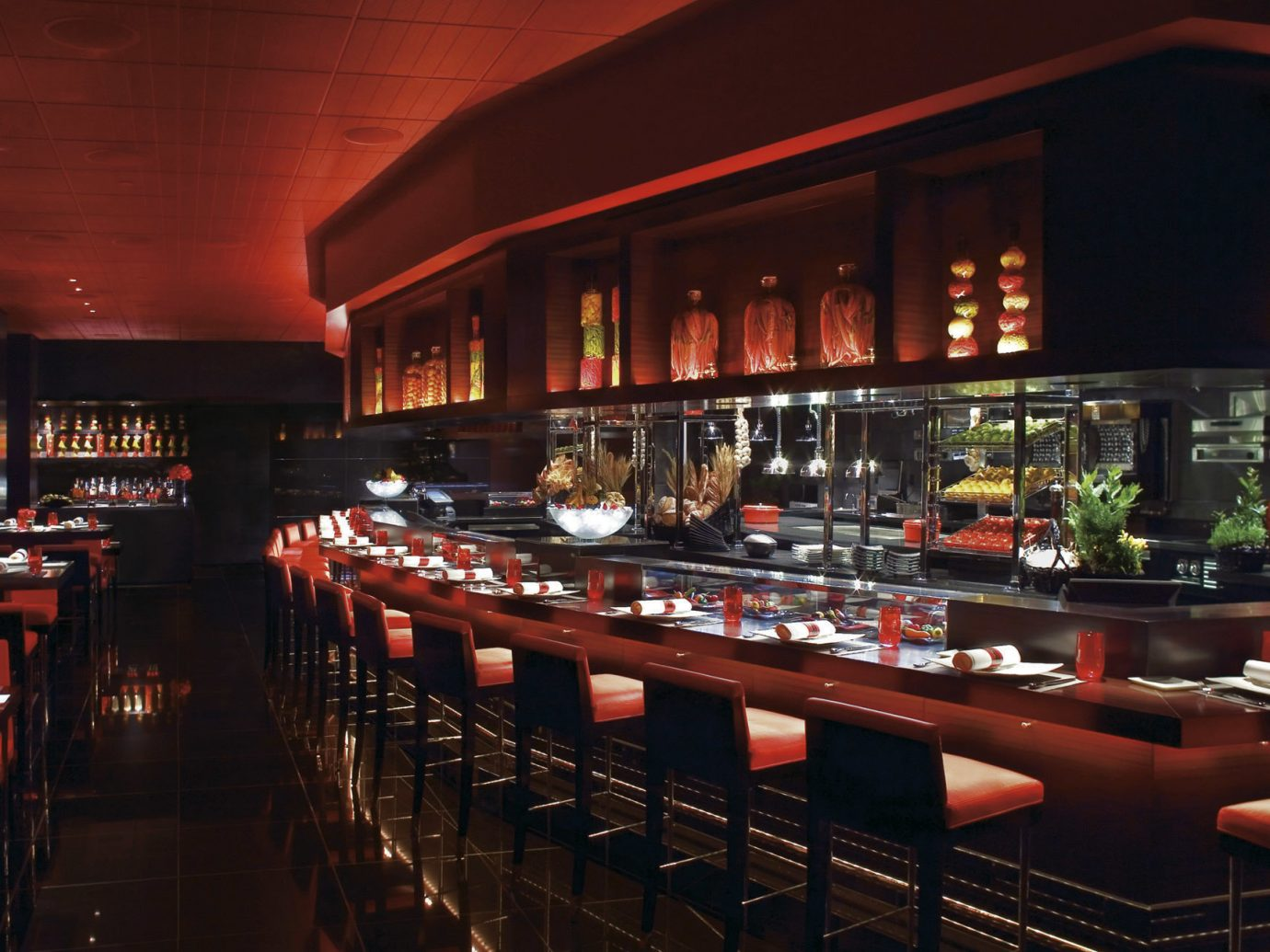 Budget Food + Drink ceiling Bar red restaurant meal long dining room