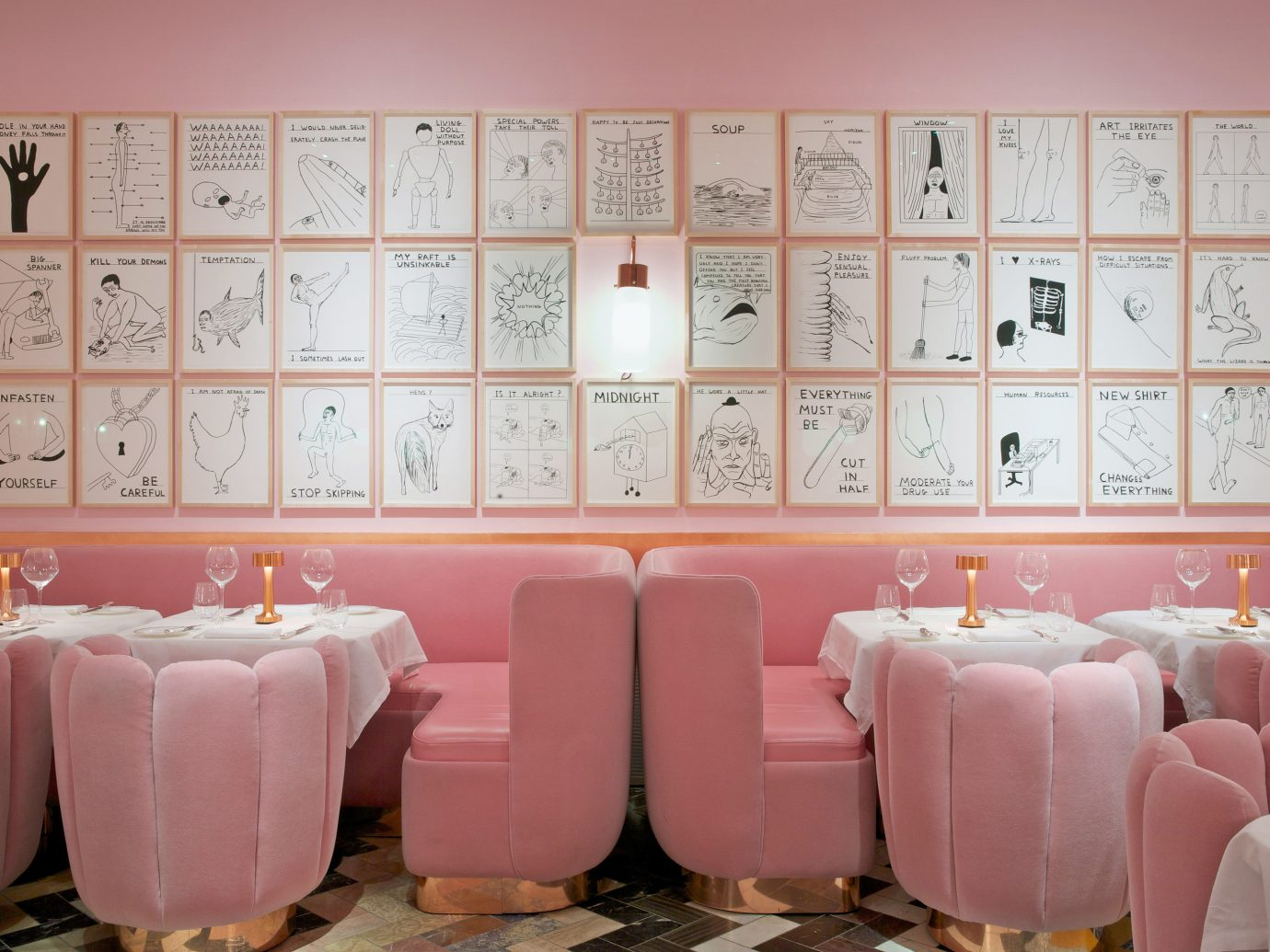 Trip Ideas room pink wall interior design restaurant meal colored living room