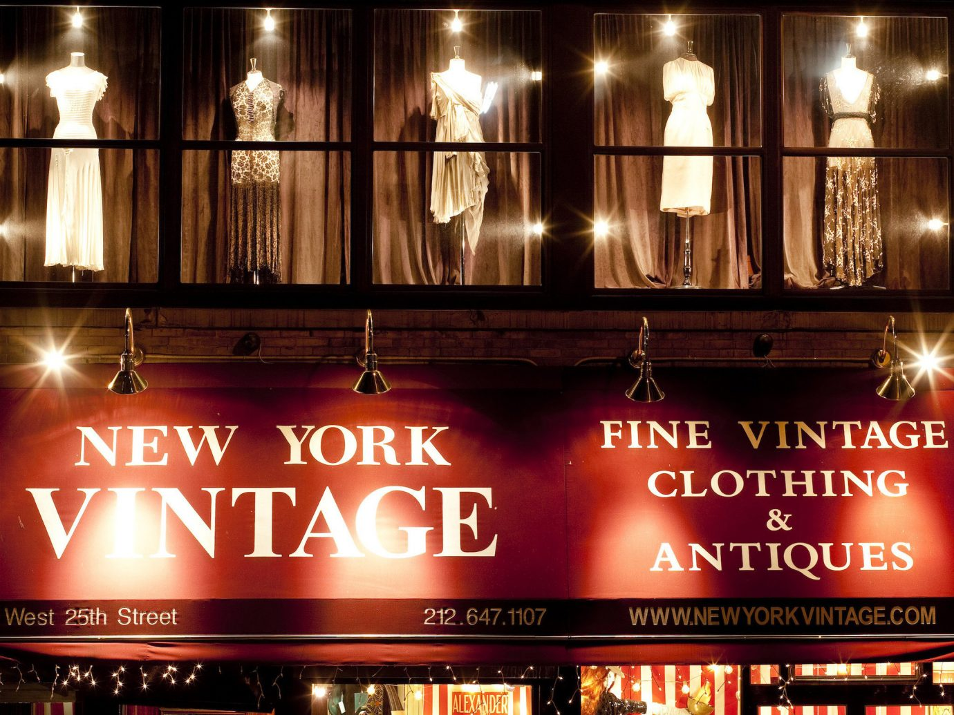 NYC Shops Style + Design night lighting display window restaurant Bar window City café