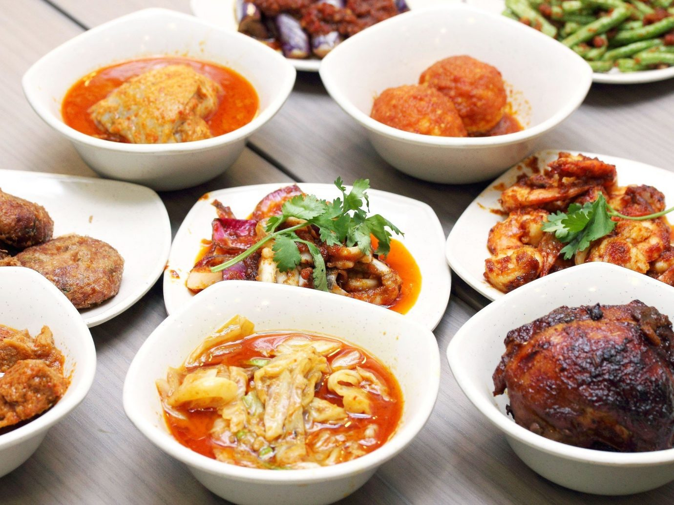 Food + Drink food plate table bowl dish different cuisine meal asian food several many lunch banchan chinese food southeast asian food side dish meat vegetable various containing