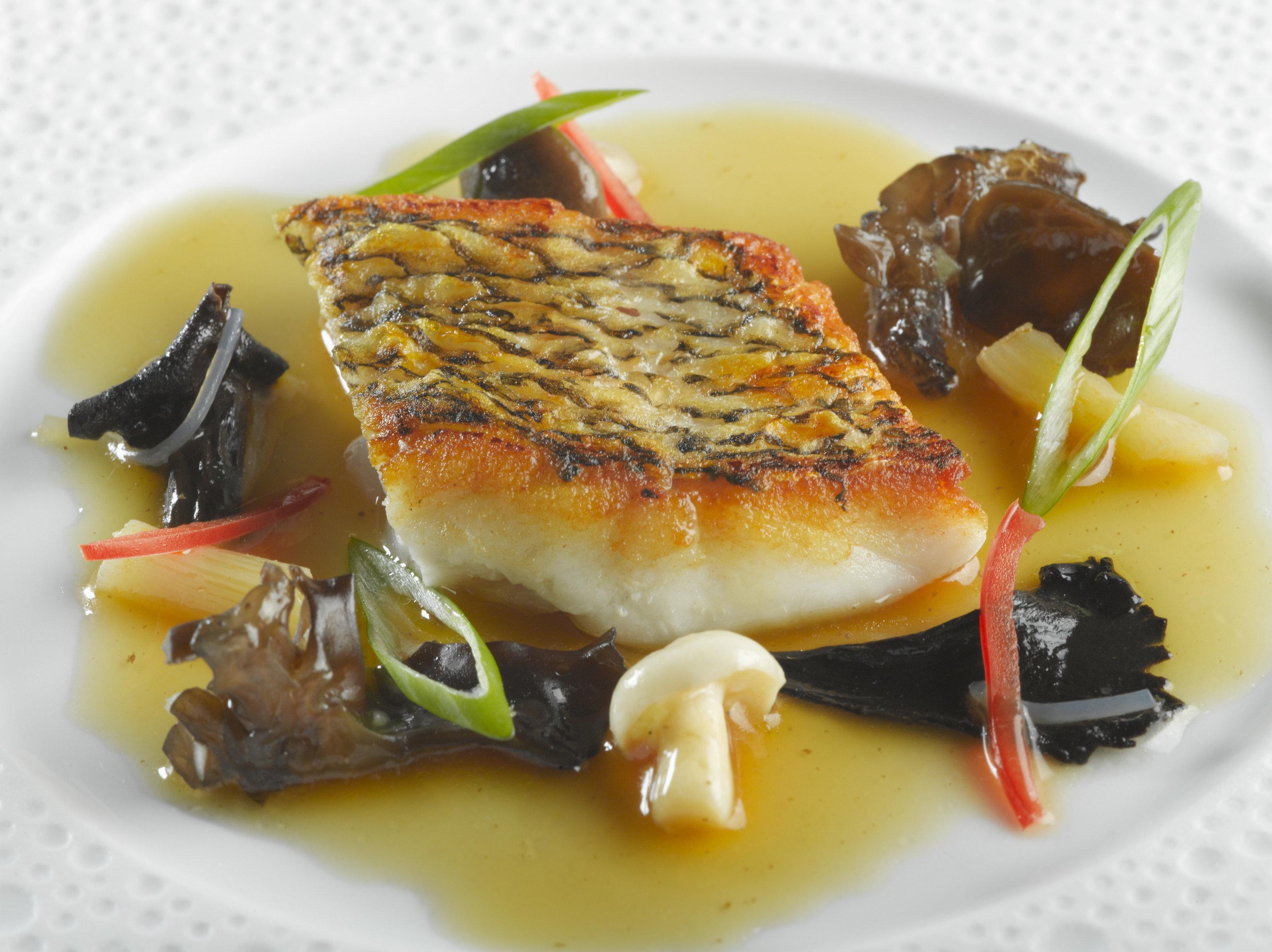 Food + Drink food plate dish cuisine sauce garnish recipe Seafood meal containing piece de resistance