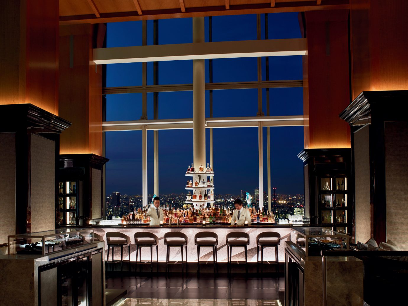 Hotels Japan Tokyo indoor window Architecture interior design estate lighting home Lobby Bar Island