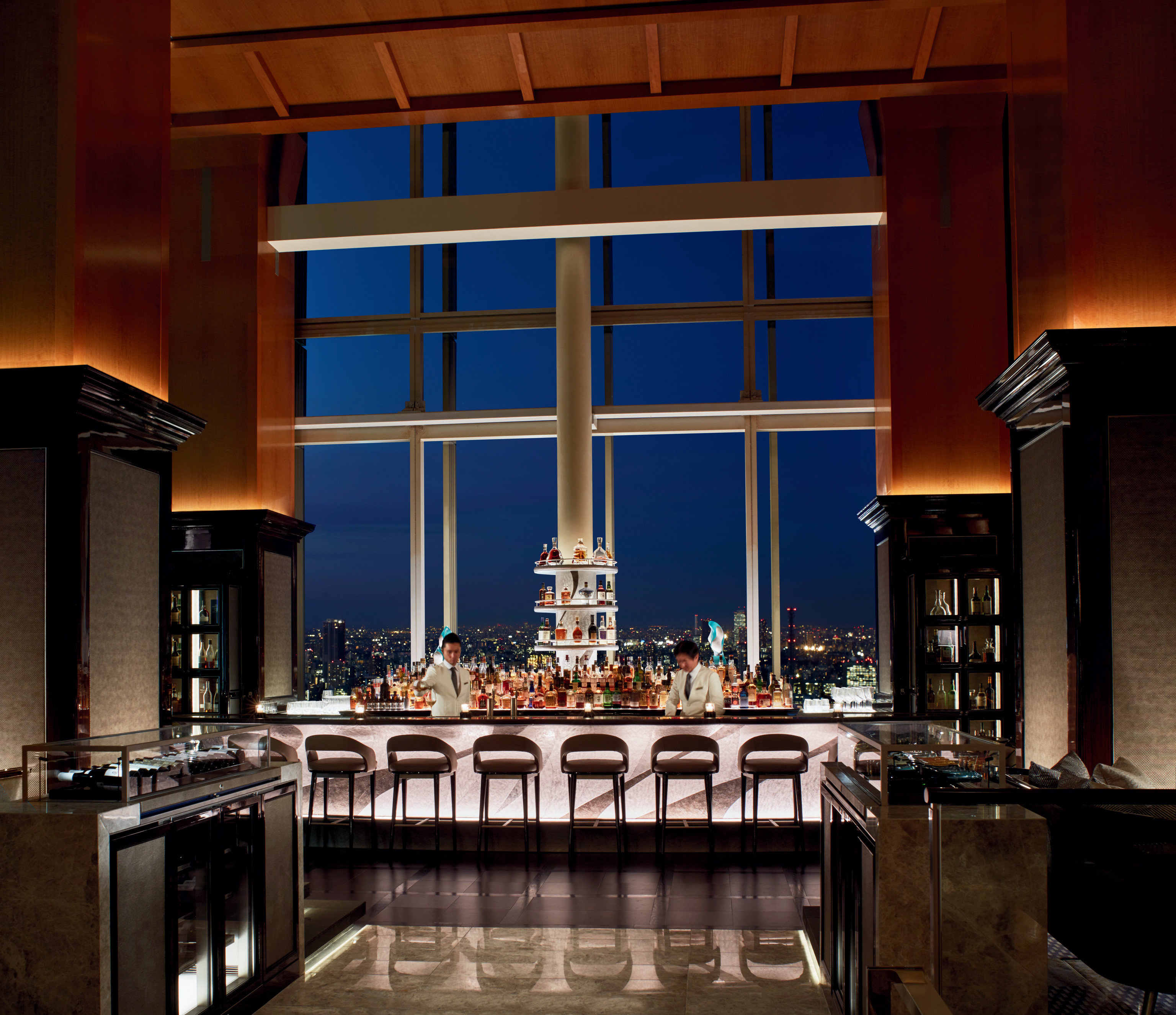 Hotels Japan Tokyo indoor window Architecture interior design estate lighting home Lobby Bar Island