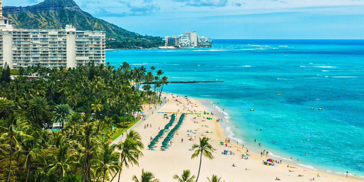 Boutique Hotels Hawaii Honolulu Hotels Sea body of water Beach Coast tropics sky shore coastal and oceanic landforms Ocean promontory caribbean tourism vacation palm tree water arecales bay daytime Lagoon cape Resort tree horizon Island