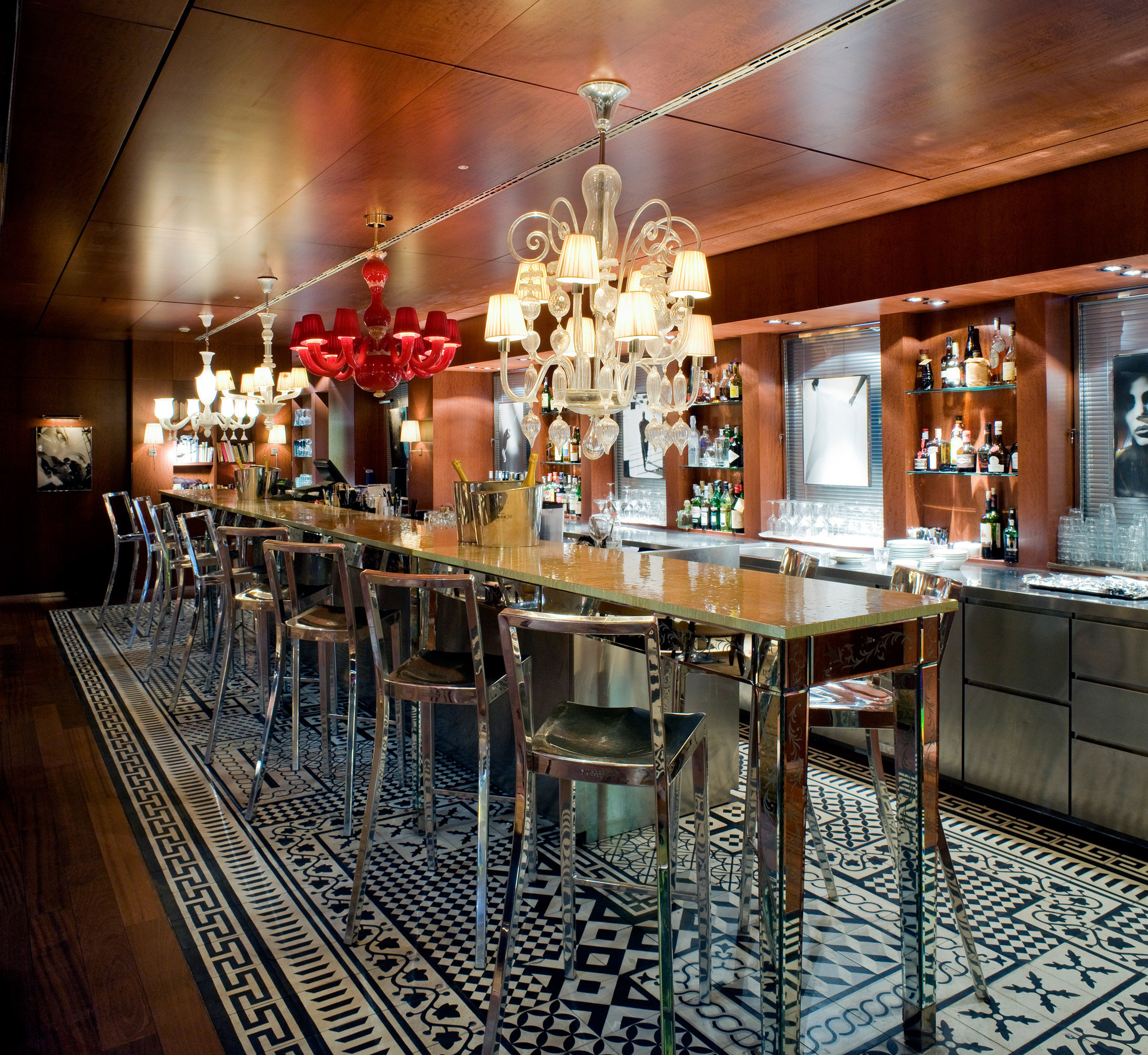 Bar City Drink Hip Hotels Italy Luxury Luxury Travel Venice indoor Kitchen ceiling meal restaurant interior design cooking area dining room