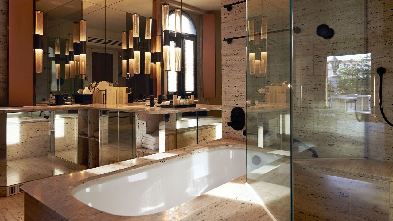 Hotels Italy Milan bathroom indoor interior design countertop sink flooring floor Lobby estate counter area
