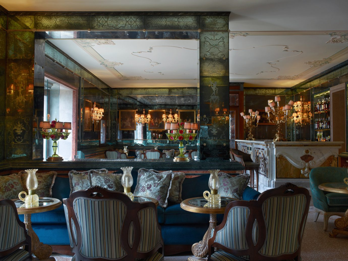 Hotels Italy Luxury Travel Venice indoor chair room ceiling restaurant interior design meal estate Bar furniture table several dining table