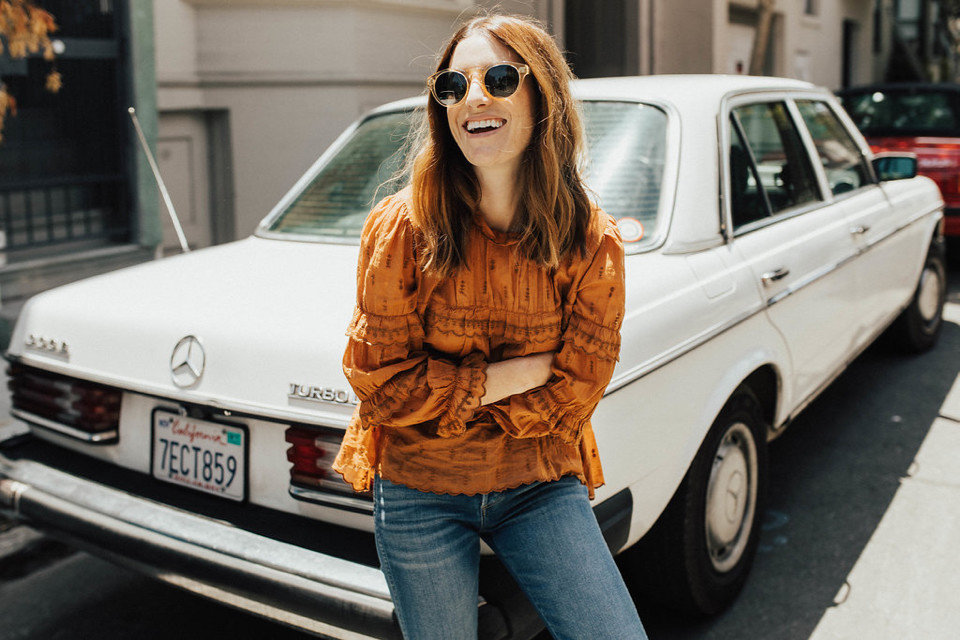 Influencers + Tastemakers car outdoor person road woman vehicle motor vehicle snapshot automotive design automotive exterior classic car mercedes benz Classic girl compact car mercedes benz w123