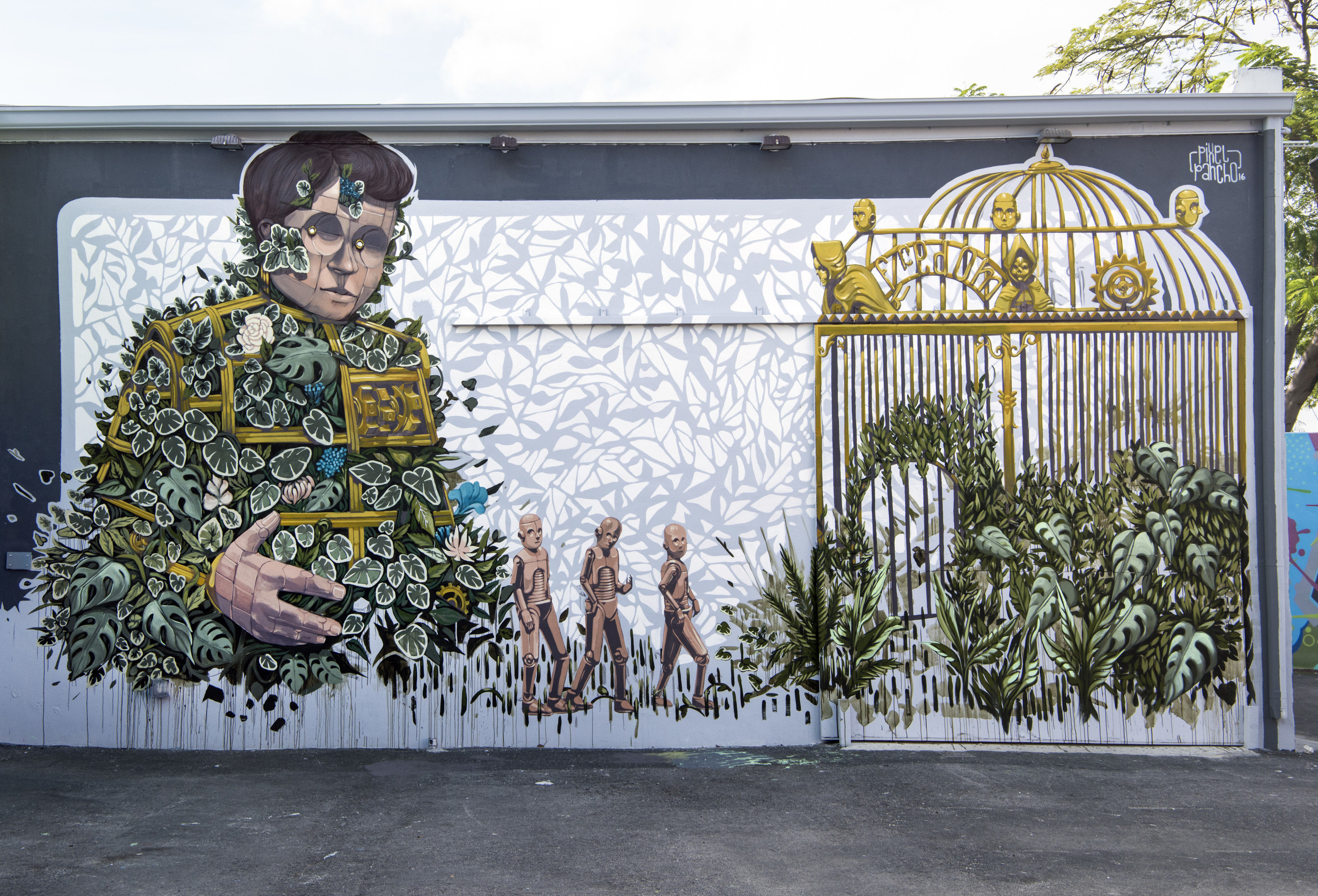 Trip Ideas outdoor person mural wall art gate
