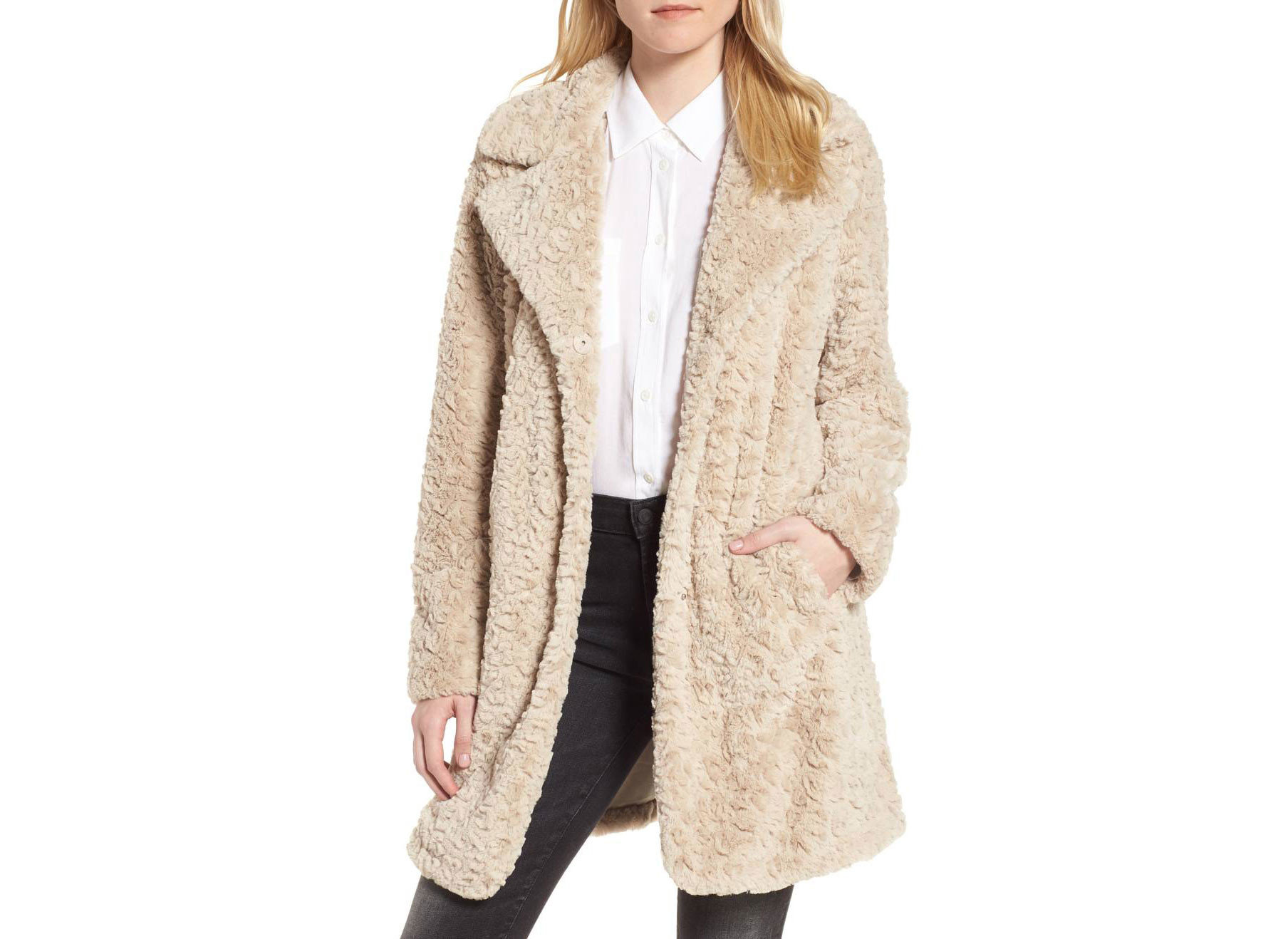 Style + Design Travel Shop clothing person coat woman wearing woolen suit overcoat fur outerwear posing beige cardigan fur clothing dressed tan clothes