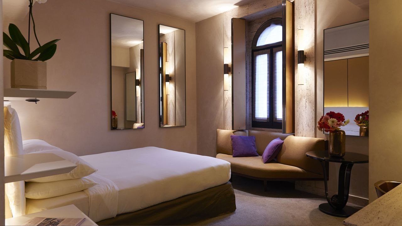 Hotels Italy Milan indoor wall floor window room bed hotel interior design Suite Bedroom ceiling interior designer