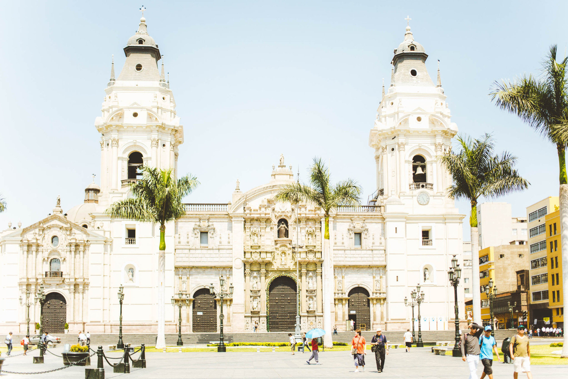 airy Architecture building Elegant Historic Luxury palm trees regal sophisticated south america Trip Ideas Tropical outdoor plaza bastion landmark historic site Town town square place of worship Church tower cathedral basilica palace facade