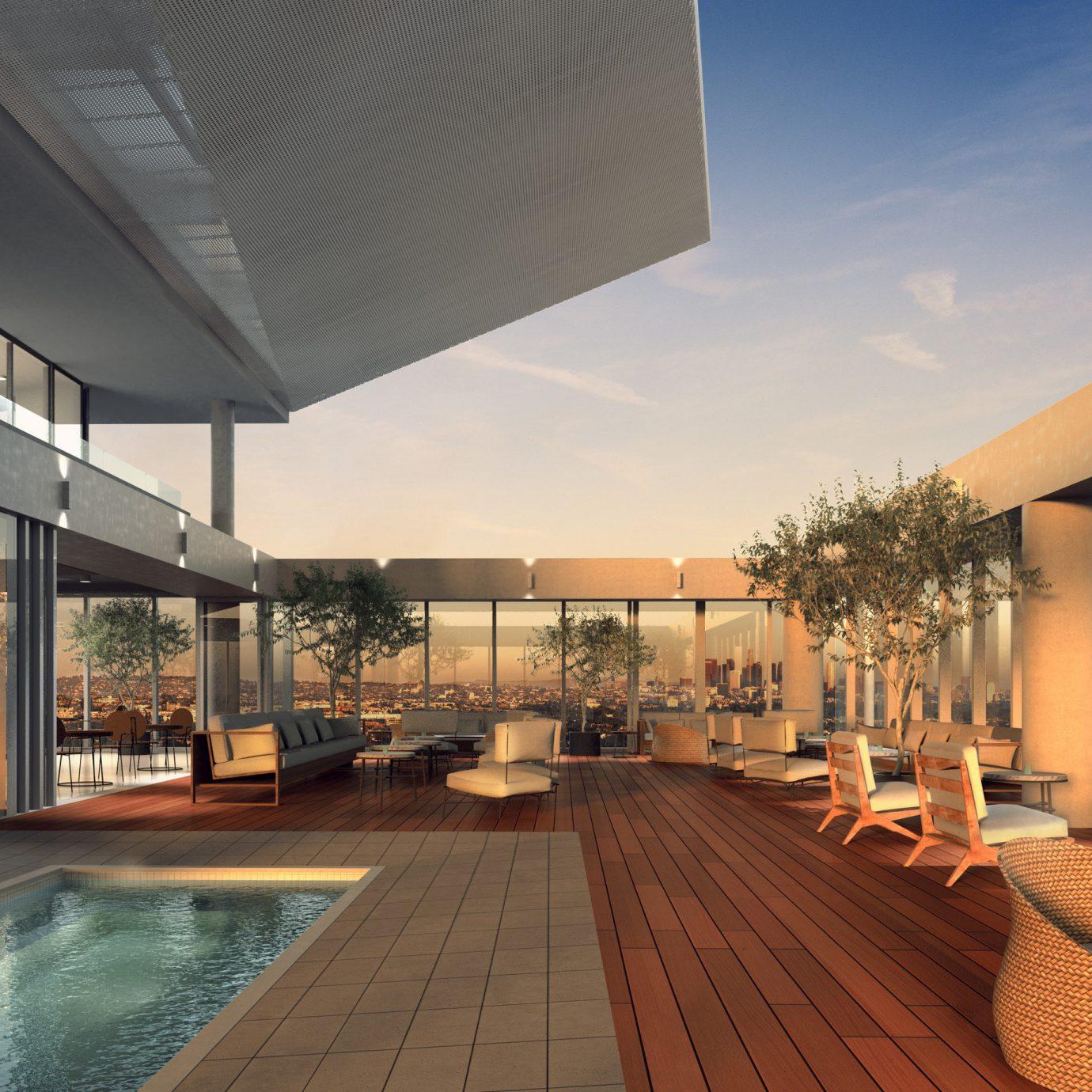 Hotels property Lobby estate Architecture condominium Resort interior design swimming pool real estate daylighting convention center professional headquarters furniture