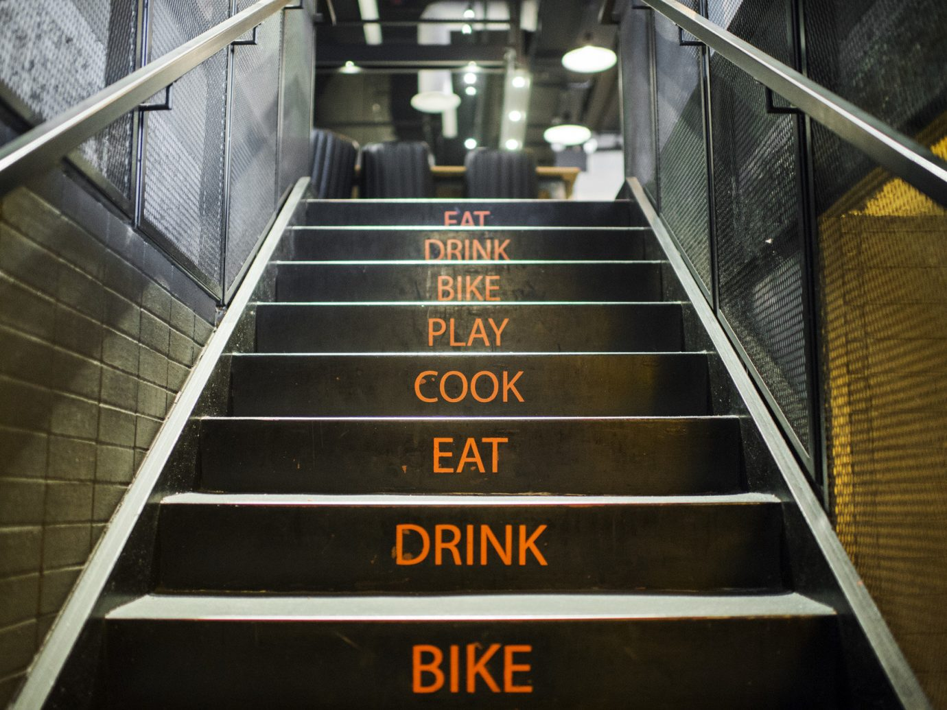 food court Hip industrial interior staircase trendy Trip Ideas urban escalator indoor transport metal public transport step