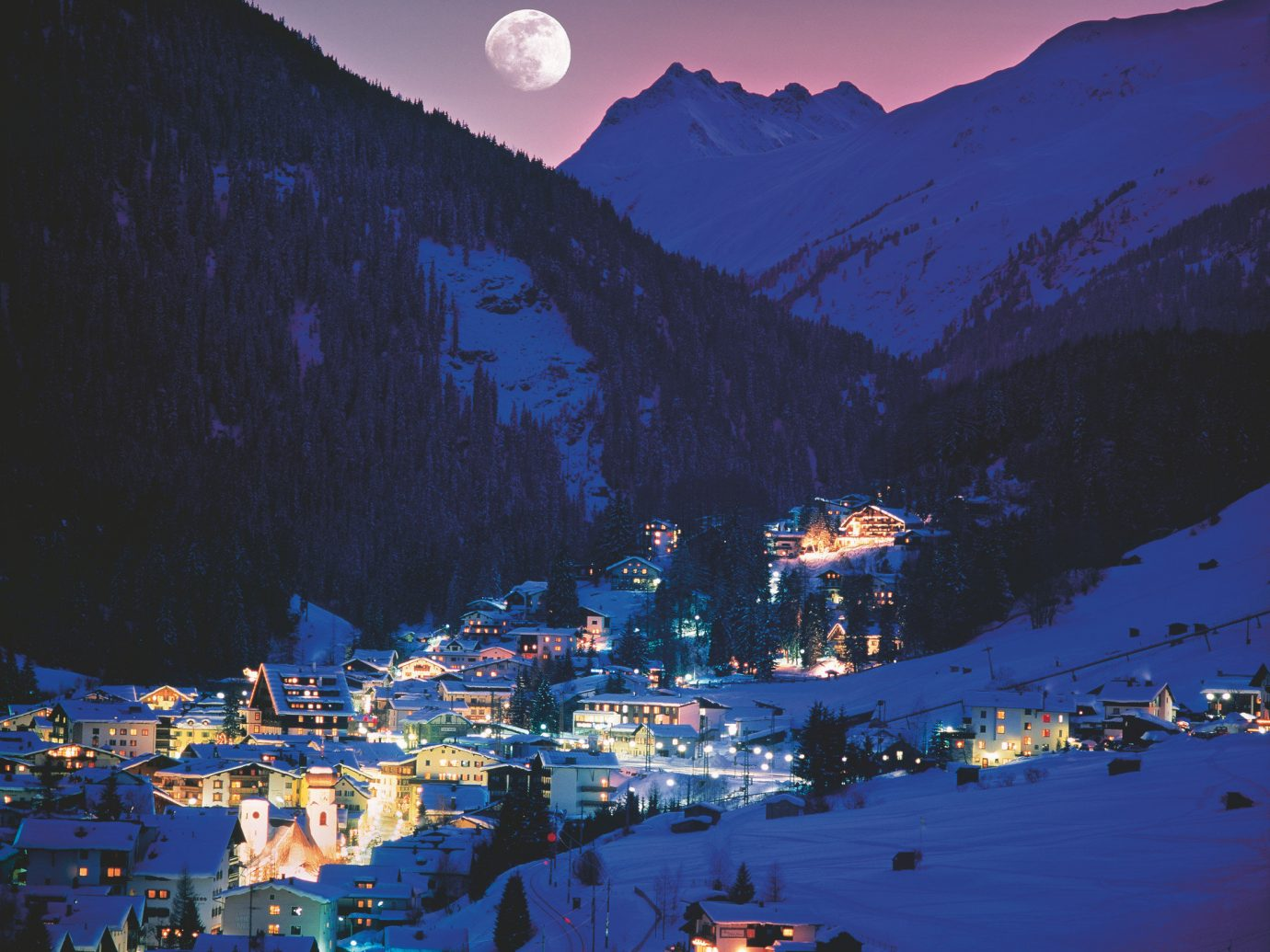 alpine skiing city lights city streets city views cozy europe lights Mountains Mountains + Skiing night Outdoors quaint remote snow Town Trip Ideas Winter outdoor mountain sky mountainous landforms mountain range weather geological phenomenon evening dusk Nature alps dawn